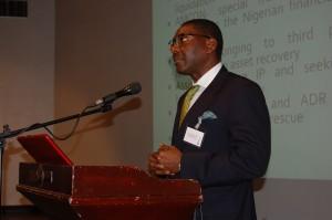 Tony Idigbe, SAN speaking at the Forum